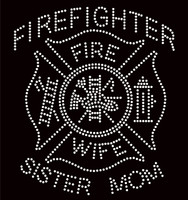 Firefighter Wife Sister Mom Clear Rhinestone Transfer Iron on