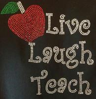 Live laugh Teach Apple School Rhinestone Transfer Iron on
