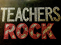 Teachers Rock School Rhinestone Transfer
