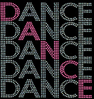 Dance 5 lines Rhinestone Transfer Iron on