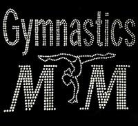 Gymnastics Mom Girl Clear Rhinestone Transfer