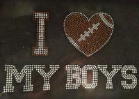I Love My Boys Football Rhinestone Transfer Iron on
