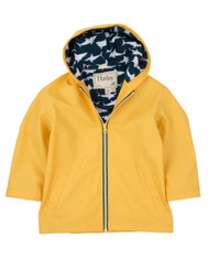 Hatley Yellow with Great White Sharks Lining Raincoat