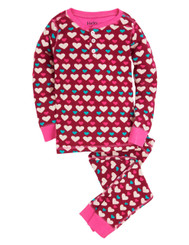 Hatley Lots of Hearts Allover Print Henley Pyjamas
