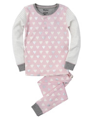 Hatley Metallic Hearts Henley Allover Print Pyjamas