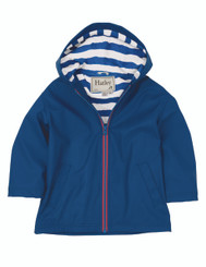 Hatley Blue Raincoat with Striped Inner Lining
