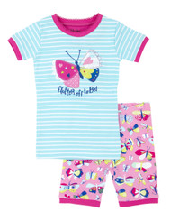flutter of to bed, pretty butterfly short pyjama set. 100% organic cotton.