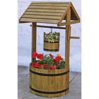 Wooden Wishing Well Planter