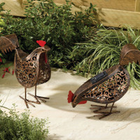 2 Metal Scroll Hens