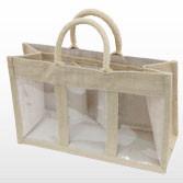 Jute Bag with Three Display Windows - Small