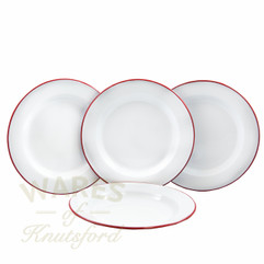 26cm Falcon Enamel Flat Plates Red Rimmed (Set of Four)