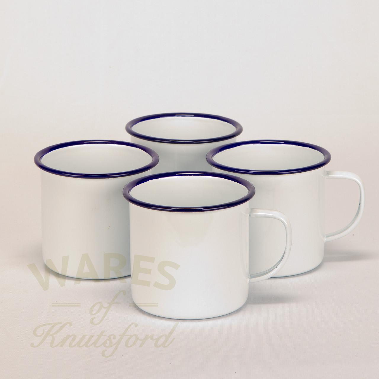set of enamel mugs