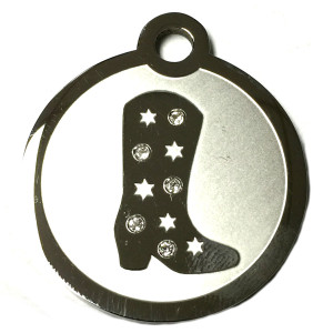 Western Riding Boot Swarovski Crystal and Stainless Steel ID Tag