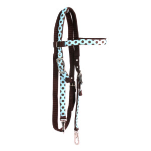 Blue Brown polka Headstall