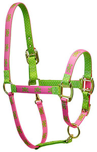 Pink Green Skulls High Fashion Halter For Miniature Horse