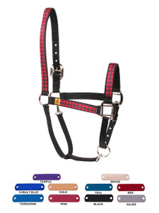 Personalized Name Plate Buffalo Plaid Red Equine Elite Halter