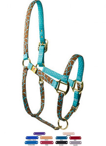 Personalized Name Plate Giraffe Teal High Fashion Horse Halter