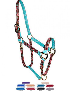 Personalized Name Plate Pink and Teal Flowers High Fashion Horse Halter