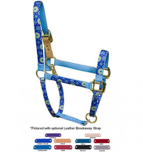 Personalized Name Plate Teal Flowers Flowers High Fashion Horse Halter