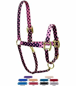 Personalized Name Plate Pink Black Polka High Fashion Horse Halter