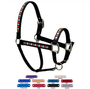 Personalized Name Plate Red Argyle Equine Elite Halter
