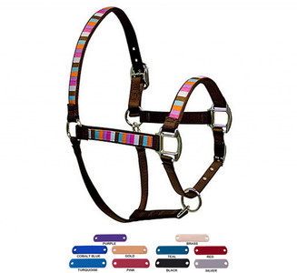 Personalized Name Plate Multi Stripe Equine Elite Halter