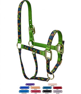 Personalized Name Plate Neon Peace Signs High Fashion Horse Halter