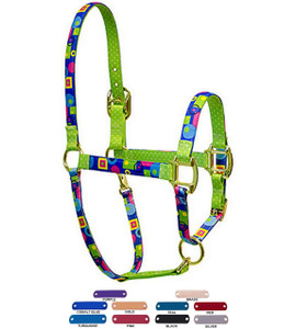 Personalized Name Plate Blue Geometric High Fashion Horse Halter