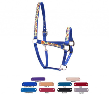 Personalized Name Plate Butterflies On Yellow Equine Elite Halter