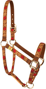 Leather Rose Red High Fashion Horse Halter