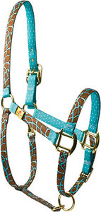 Giraffe Teal High Fashion Horse Halter