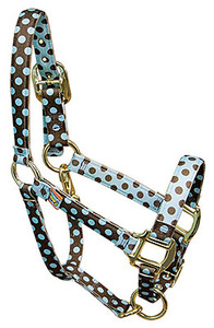 Blue Brown Polka High Fashion Horse Halter