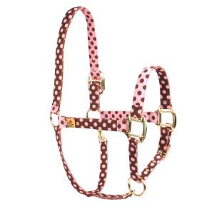 Pink Brown Polka High Fashion Horse Halter