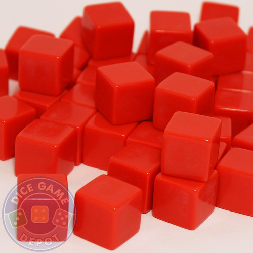 Blank red dice - 16mm - Set of 1000