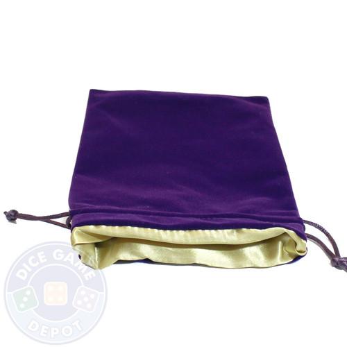 Gold satin-lined velvet dice bag