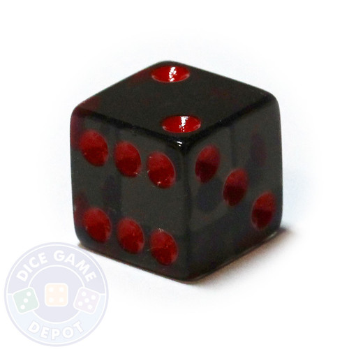 Transparent die - Black with red spots