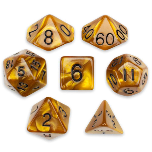 Pearlized 7-piece Dice Set in Velvet Pouch - Mountainheart