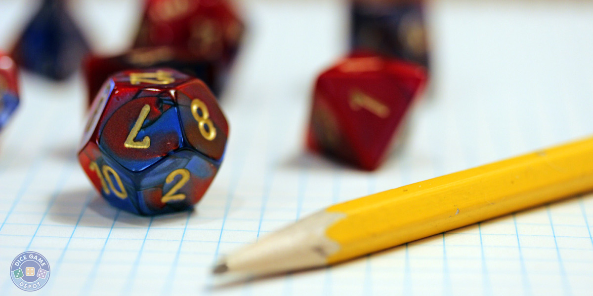 RPG game dice for sale in numerous colors. Buy individual dice or sets.