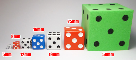 Dice sizes