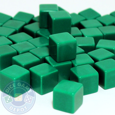 Blank green dice - 16mm - Set of 1000