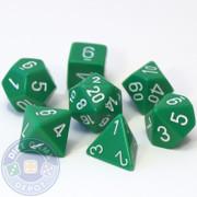 Opaque green 7-piece D&D RPG dice set