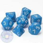 Opaque light blue 7-piece D&D RPG dice set