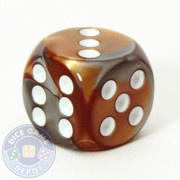 Gemini d6 dice - Copper and steel with white pips
