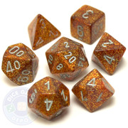 D&D dice set - 7-Piece RPG dice - Glitter Gold