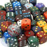 Assorted dice - 50 12mm speckled dice
