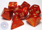 Scarab 7-Piece RPG Dice Set - Scarlet