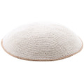White-Tan DMC Knitted Kippah