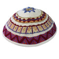 White Embroidered Kippah