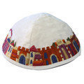 White Embroidered Jerusalem Kippah