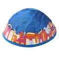 Blue Embroidered Jerusalem Kippah